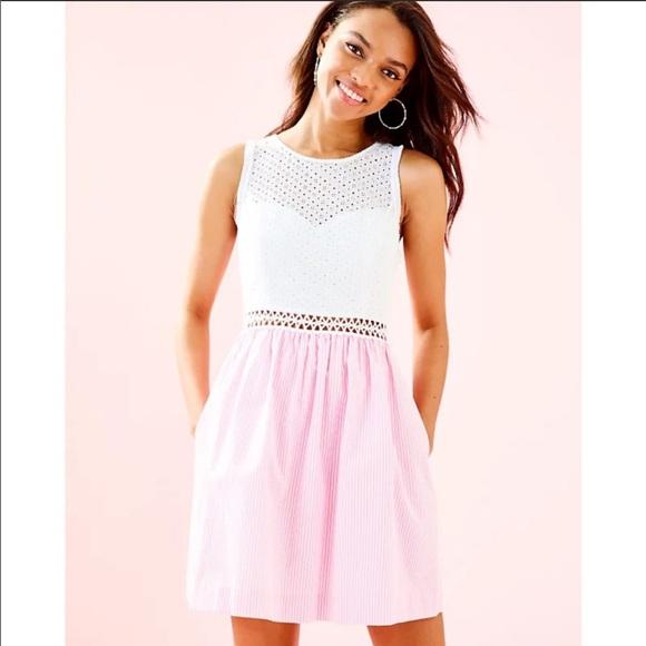 Lilly Pulitzer Alivia Seersucker Dress Pink&White